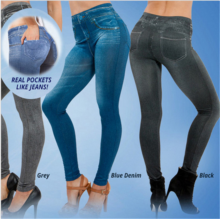c1d113e8a38f4 Sexy Women Jeans Look Skinny Jeggings Stretchy Seamless Slim Leggings