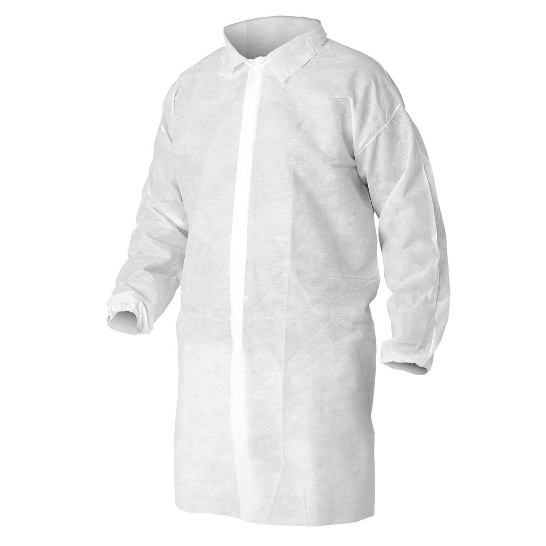 Kleenguard A10 Light Duty Lab Coat (40105), Snap Front, Elastic Wrists, 2XL, White, 50 Coats/Case