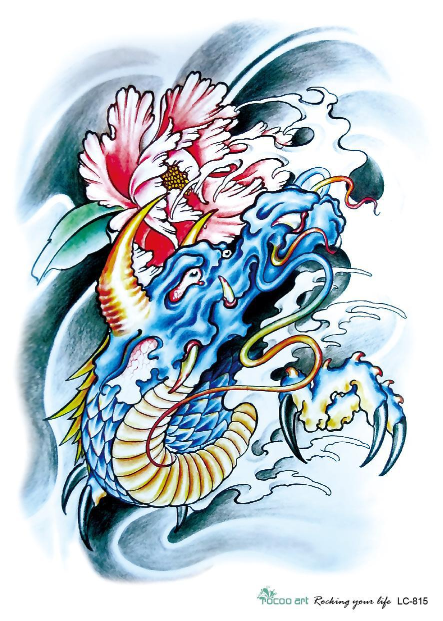 Get quotations · 3d large temporary tattoo sticker sketch blue dragon flower painting drawing ink designs chest shoulder cool
