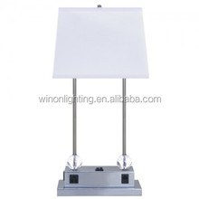 Metal base table lamp with fabric lamp shade E27 desk light