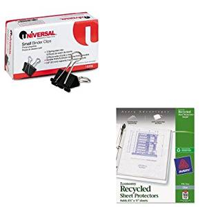 KITAVE75539UNV10200 - Value Kit - Avery Top-Load Recycled Polypropylene Sheet Protector (AVE75539) and Universal Small Binder Clips (UNV10200)