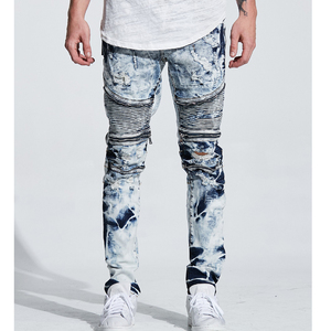 MEN'S JEANS PANTS CRUSH BIKER WRANGLER JEANS