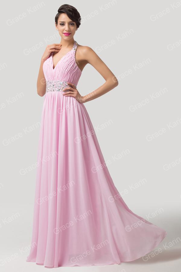 2015 Diseño Elegante De V-cuello Piso De Longitud Rosa Vestidos De ...