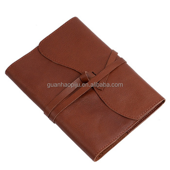 Custom Refillable Handmade Brown Genuine Leather Lined Notebook For Business Men