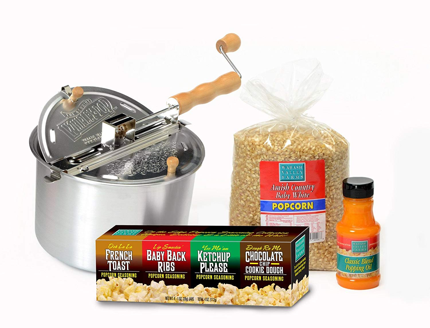 Original Whirley Pop Gift Set – Popcorn Gift Set with Stovetop Popcorn Popper, Great Gift for Movie and Snack Lovers, Perfect Popcorn in 3 Minutes, 6-Quart Capacity