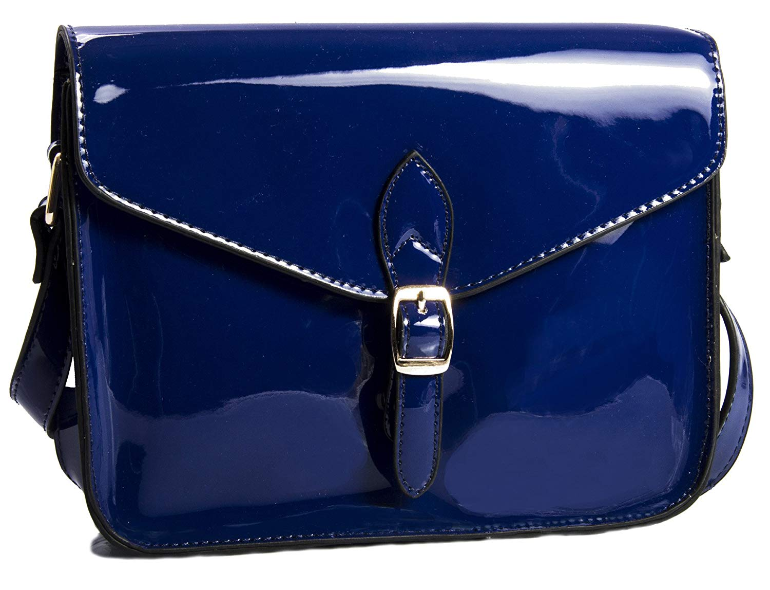 Get Quotations Handbag Womens Fashion Patent Faux Leather Messenger Shoulder Bag Royal Blue