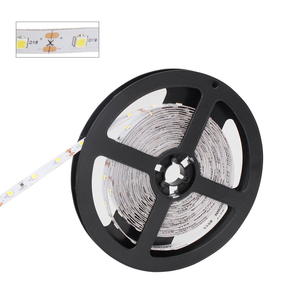 SolarLang LED Strip Light CRI90 Non-Waterproof H2835PW300N Rope Light 16.4Ft(5M) 300 LEDs 60LEDs/M 2700K-6000K DC12V 60W 12W/M 8mm White with Adhesive Tape (Pure White(5000K-6000K))