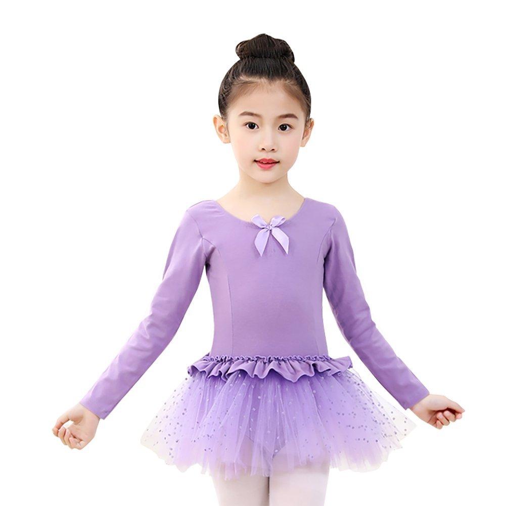 dc1503338 Get Quotations · Wingbind Long Sleeve Gymnastic Leotards for Girls Kids  Child Leotard Skirt Ballet Dance Dress Ethnic Dance