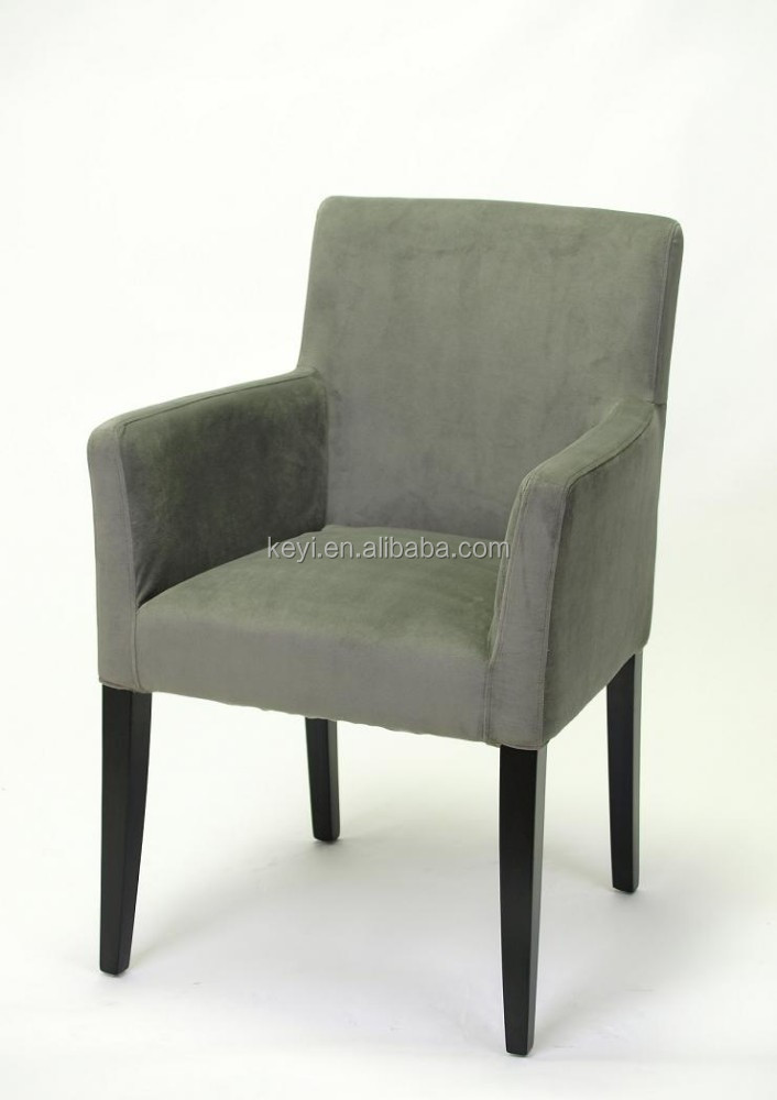 Modern Grey Removable Velvet Slipcover Fabric Hotel Chair Dining Restaurant With Arm Ky 3059