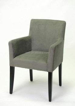 Modern Grey Removable Velvet Slipcover Fabric Hotel Chair/Dining Chair/Restaurant  Chair With Arm