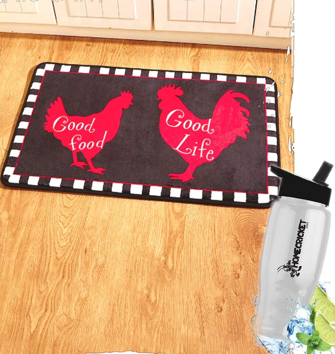 Gift Included- Country Farmhouse Kitchen Good Food Good Life Rooster Rug Kitchen Mat Carpet + FREE Bonus Water Bottle by Home Cricket Homecricket