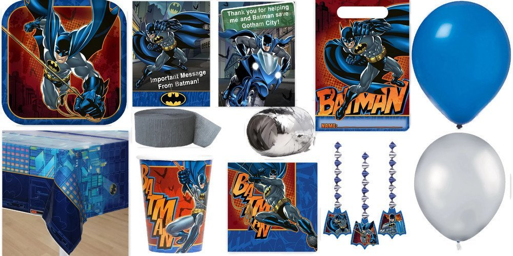 Batman Party Supplies for 16 Includes Invitations, Table Cover, Cups, Napkins, Plates, Treat Bags, Decorations, Thank You Postcards, Curling Ribbon, Streamer, and Balloons - Bundle Includes 128 Items