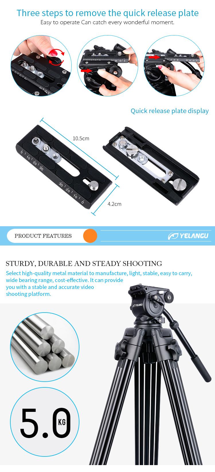 YELANGU  1.8m Aluminum Professional Camera Tripod Support for DSLR Camera