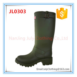 New fashion ladies women England style long arm green rain gum boots