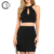Custom Ladies Stylish Black Crop Top And Mini Skirt Set
