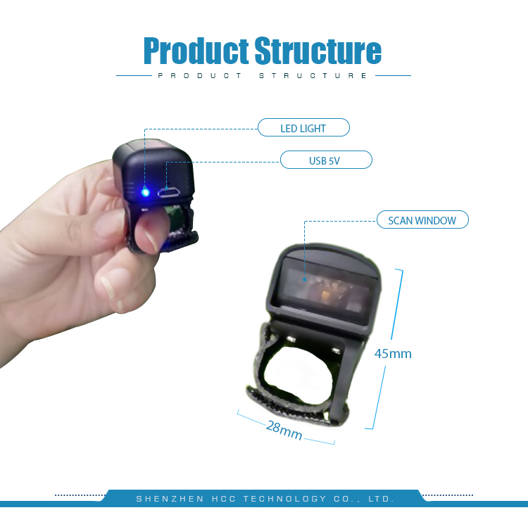 1D Android USB Bluetooth IP65 Handheld Ring Barcode Scanner with Free SDK HS-S02