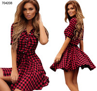 wholesale clothes casual clothes red and black check print shirt dress for women ladies