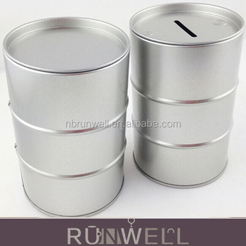 Round Drum Shape Tin Can Coin Bank Money Box Saving