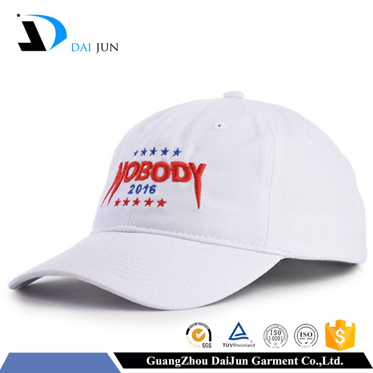 China Factory Daijun New Design OEM High Quality 100%cotton Metal Buckle White 3D Embroidered logo Men Custom Marching Band Hats