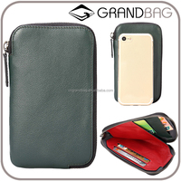 Double Zipper Clutch Wallet Long Genuine leather Wallet Men clutch bag leather business men cell phone pouch