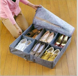 Wholesale Foldable Under Bed Organizer Shoe Storage Bag / fabric shoe storage bag