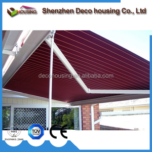 Modern House Electric Aluminum Retractable Awning With Awning Motor and Awning Hand Crank