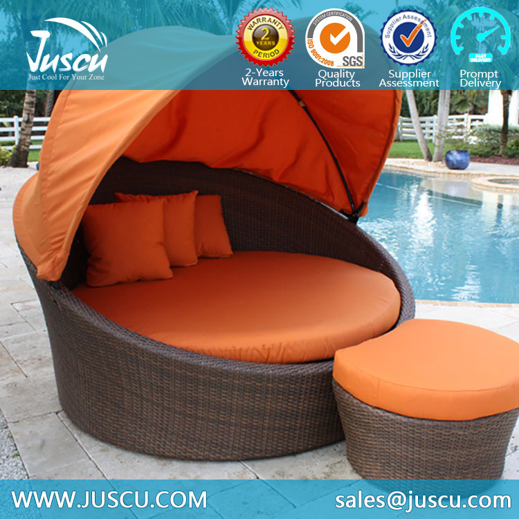 Juscu Rattan Daybed With Canopy Replacement Cushion Covers Outdoor Furniture  With Ottoman Part 39