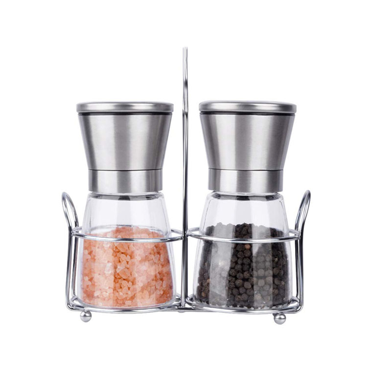 Mini hand manual metal ceramic jar salt acrylic pepper grinder mills