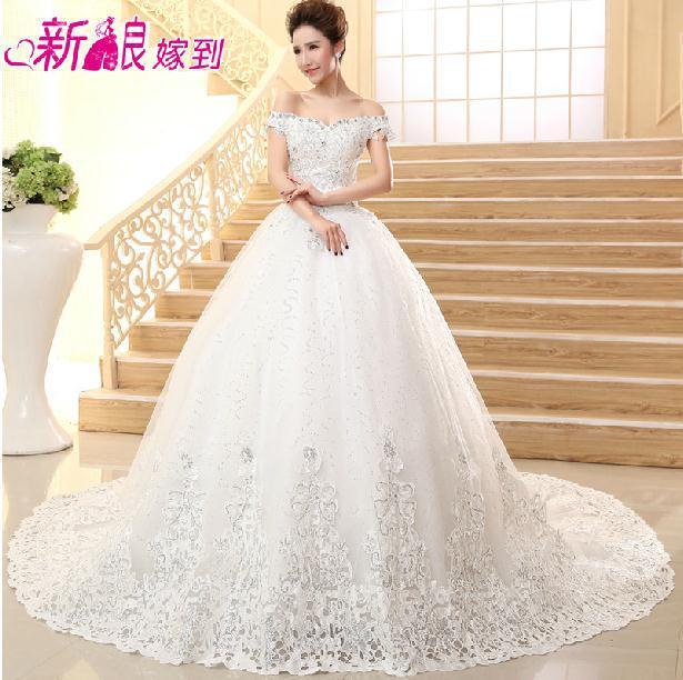cc5b35da30f2 ... Princess Wedding Dress With Diamonds: Fashionable Summer Diamond Lace Wedding  Dress 2014 Boat