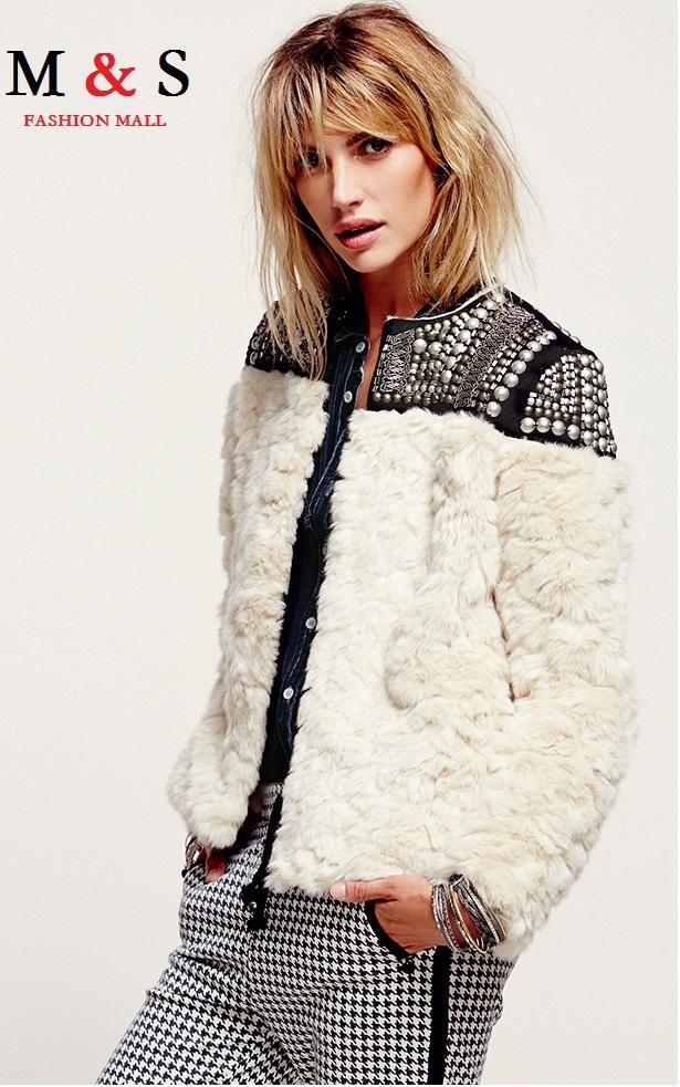 Мелинда стиль женщины искусственный мех куртка заклёпка вышивка бисером украшены зима пиджаки женщины зима пальто