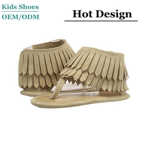 Soft Suede Upper Frine Layered Thong Construction Baby Deer Fringe Sandal