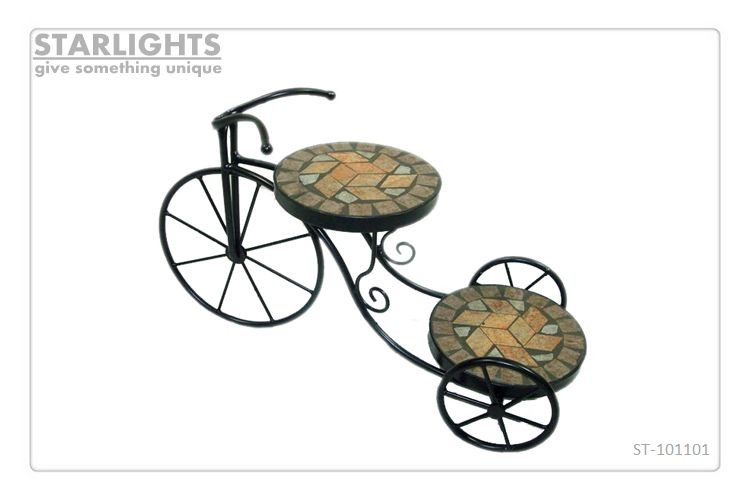 cute metal bike Style 2 Tier plant stand garden plant rack