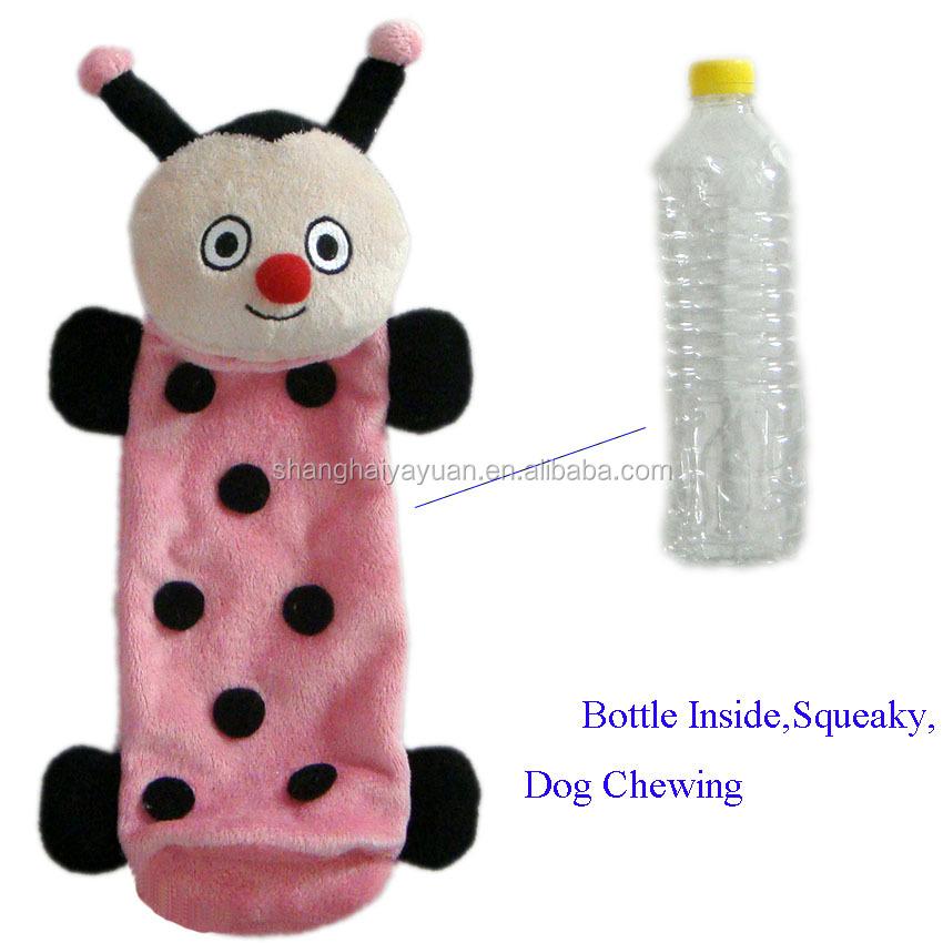 Forma Animal bonito Joaninha Abelha Com uma Garrafa Vazia Dentro De Pelúcia Brinquedo Do Cão Sem Recheio