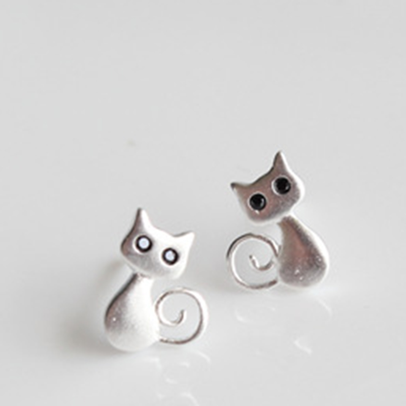 Real 925 Sterling Silver Jewelry Female Cute Animal Cat