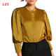 Elegant Office Lady Band Collar Puff Sleeve Slim Fit Satin Blouse