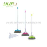 classical home cleaning plastic dustpan set with long metal handle broom