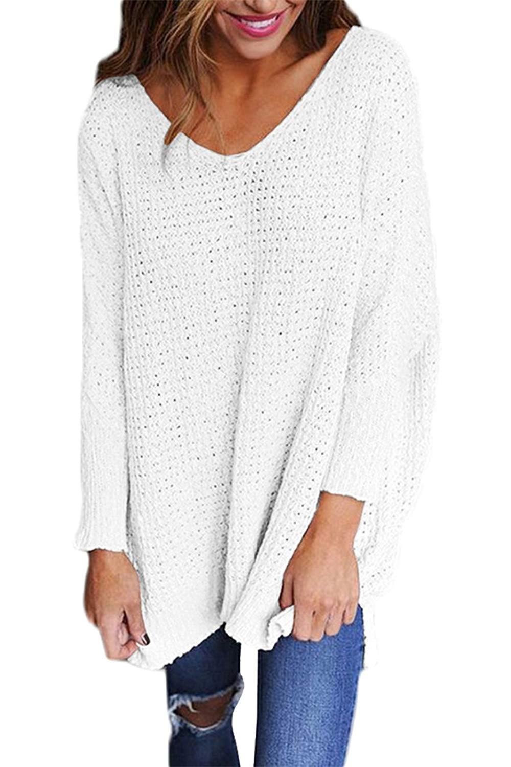 a91079c440 Get Quotations · Viottis Women s Loose V-Neck Long Sleeve Pullover Knitted  Sweaters Jumpers Tops