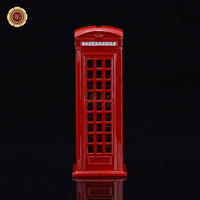 WR Art Craft Metal London Red Telephone Booth Bank Coin Kids Bank Saving Red Phone Booth Model Pot Piggy 6.3*6.3*16.9cm