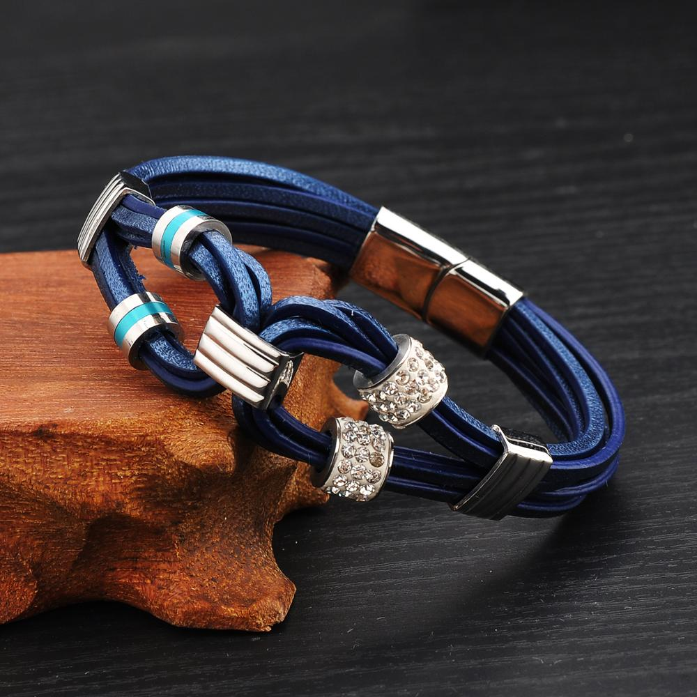 China Supplier Fashion Jewely Accessories Men Magnetic Leather Bracelet With Steel