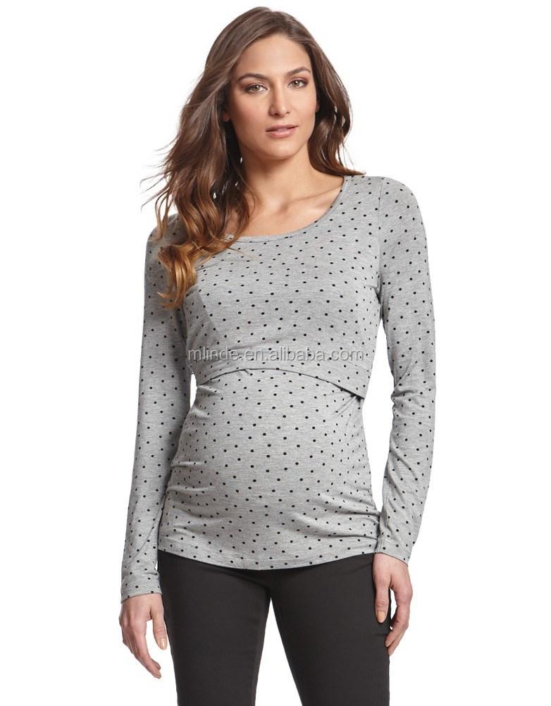 b97f1f917c Moda Top Design blusa al por mayor lactancia ropa diseños lunares musulmán  enfermería tops para ropa