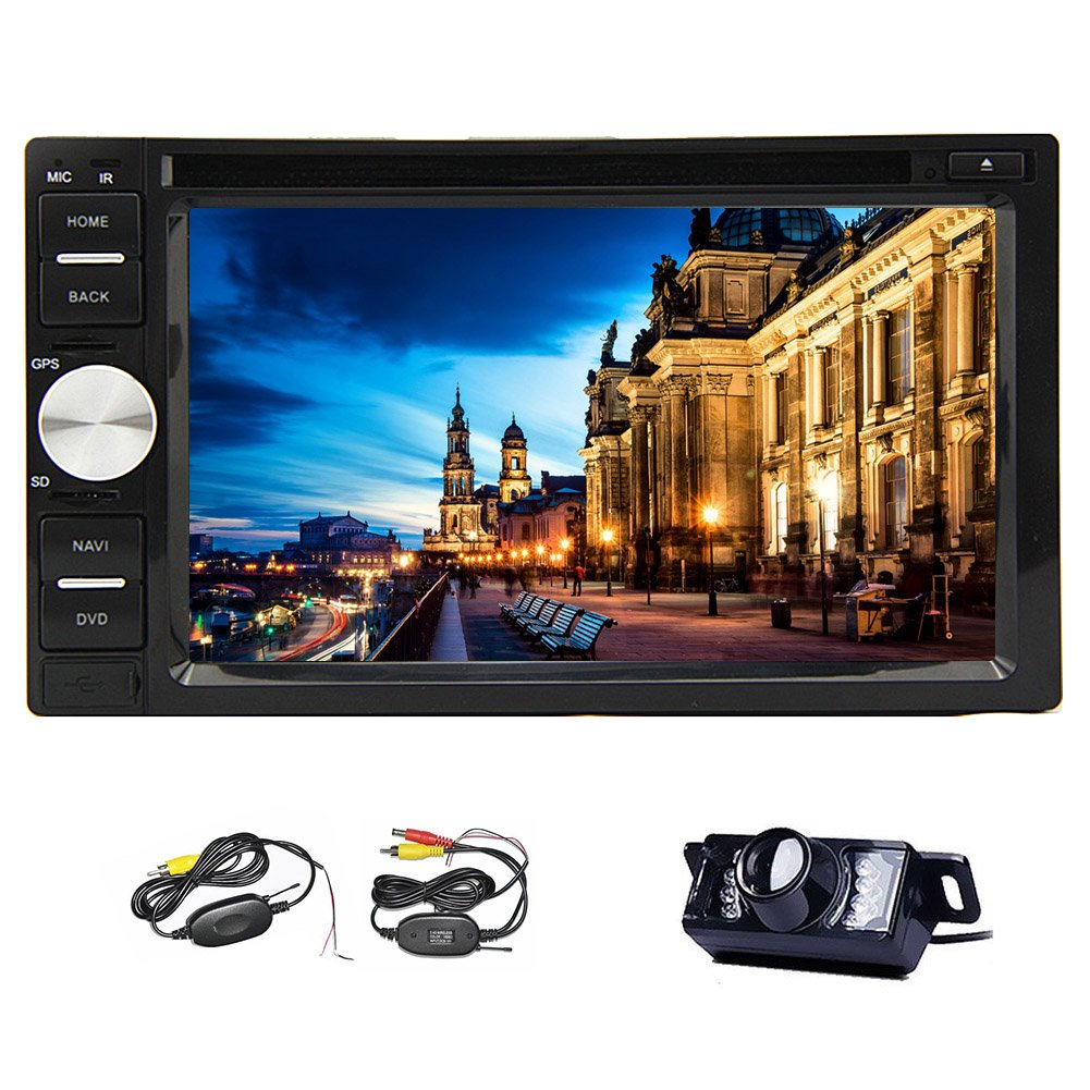 Wireless Rear Camera Included New Model 6.2-Inch Double-2 DIN In Dash Car DVD Player Touch screen LCD Monitor with DVD/CD/MP3/MP4/USB/SD/AM/FM/RDS Radio/Bluetooth CAR Stereo Audio SubOutput