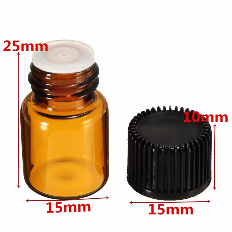 Mini 2ml amber glass bottle small vial with screw cap and plug for cosmetic essential/olive oil sample container