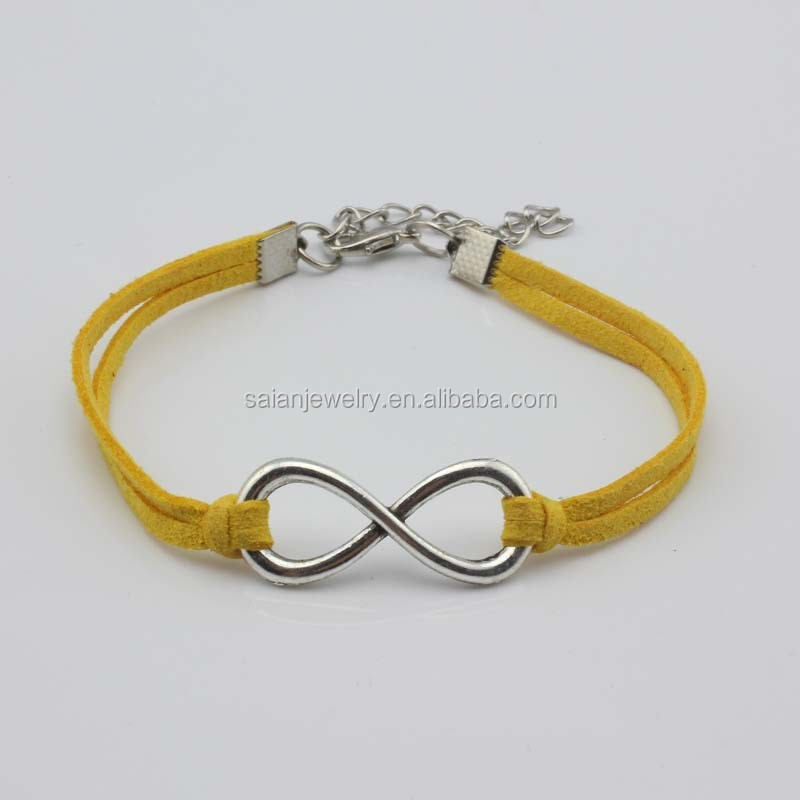 Fashion Adjustable Nylon Rope Stainless Steel Infinity Bracelet for Women 8 styles bracelets