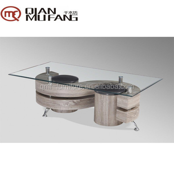 double S shaped wood style paper veneer coffee table