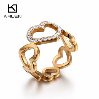 Kalen 18K Gold Plated Rhinestone Heart Rings For Women Christmas Gifts