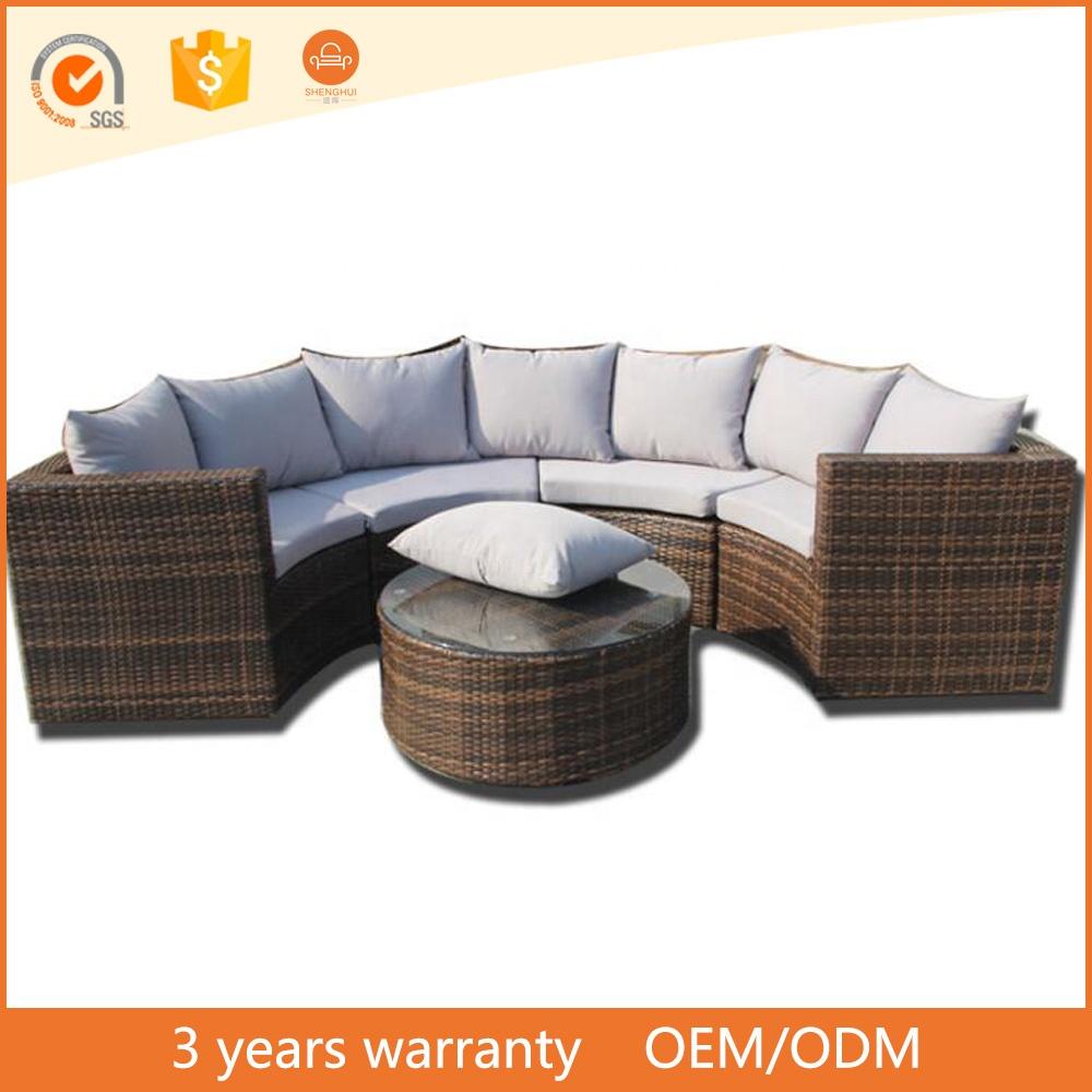 Pas cher prix raisonnable et acceptable Patio en osier nobel rotin demi  rond canapé loisirs loisirs mobilier d\'extérieur