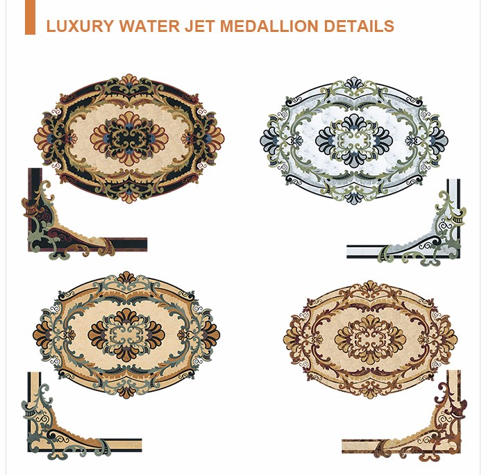 Popular natural stone waterjet special marble inlays medalion flooring