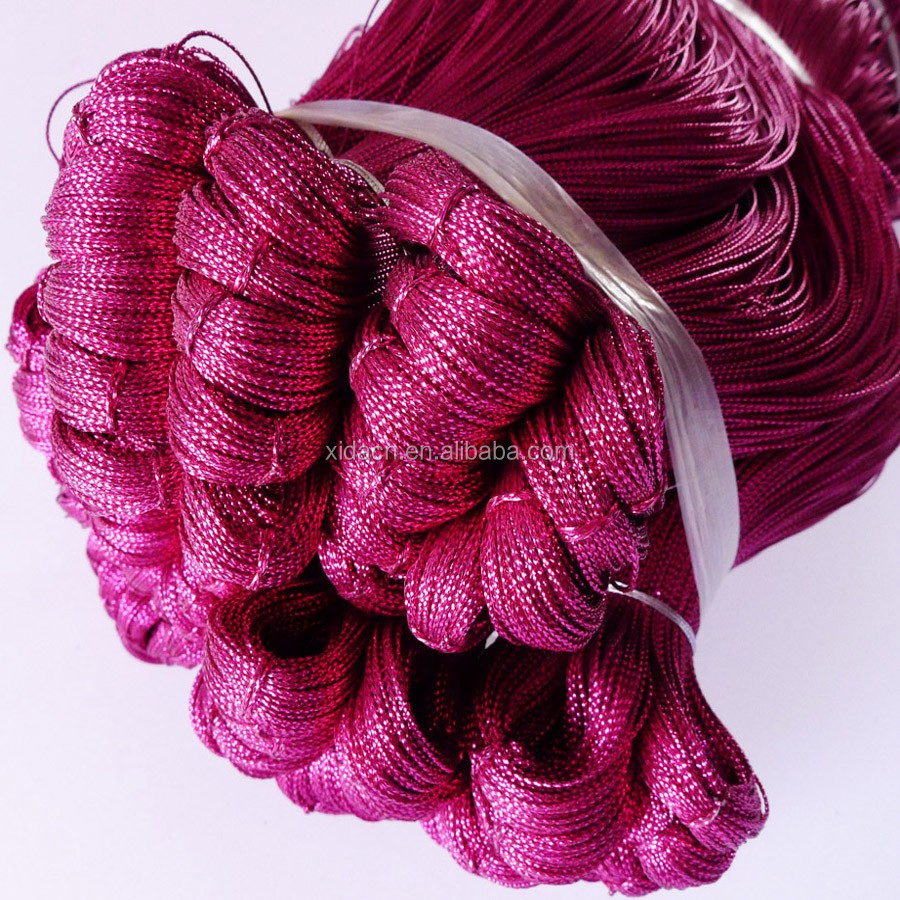 0.8mm rose pink color metallic cord string for candy bags