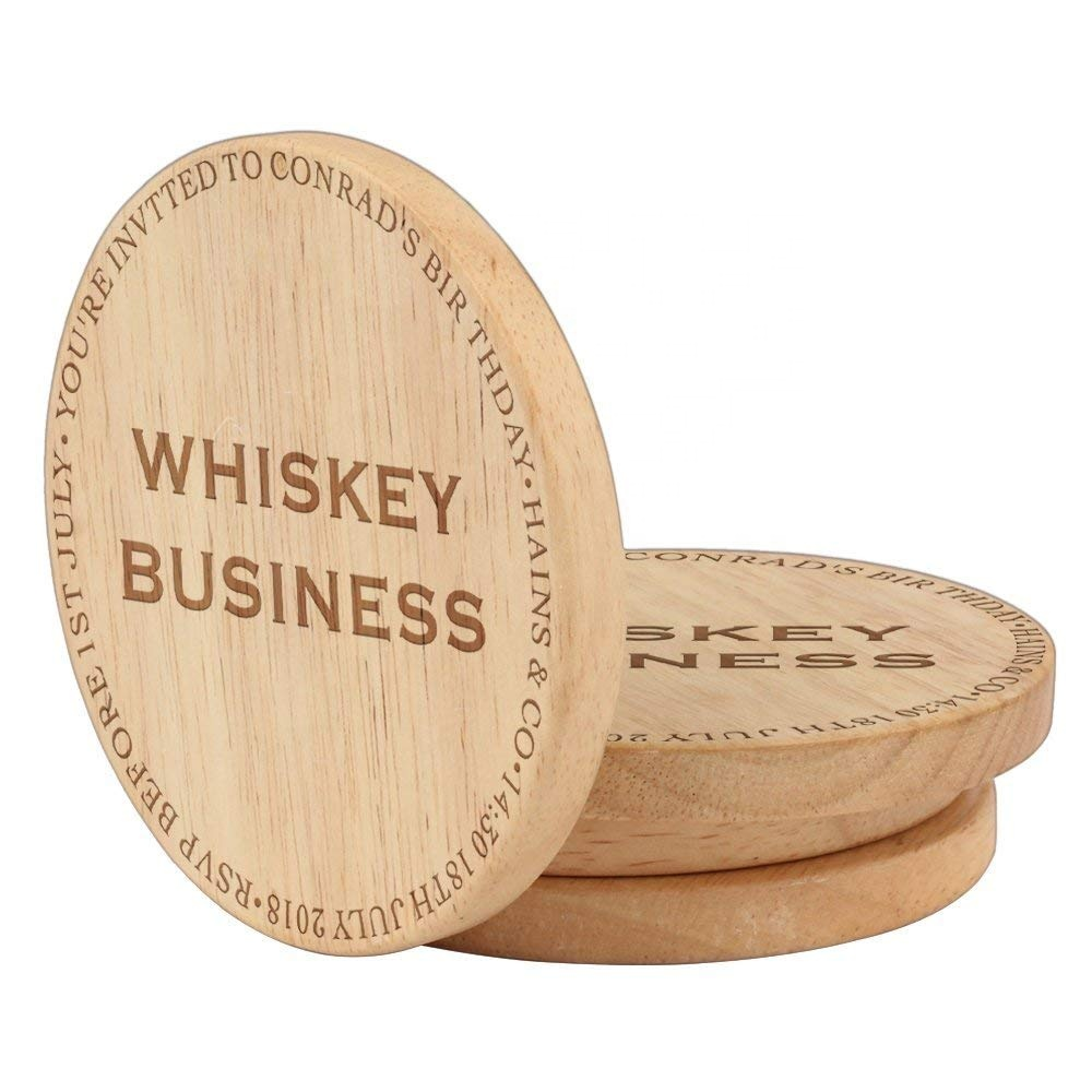 Custom Laser Cut Wood Coaster For Drinks Rubber Coaster With Logo 7