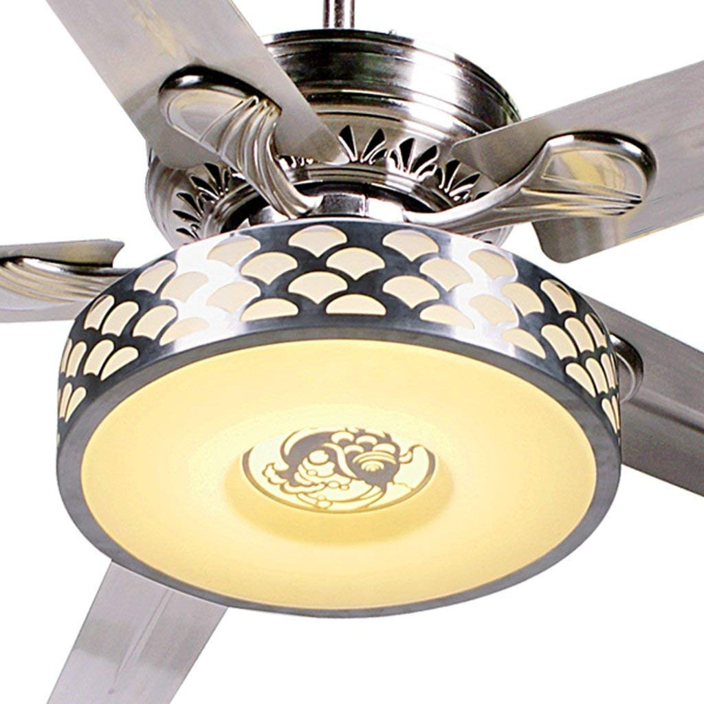 lIGHTLED Ceiling Fan Light Modern Living Room Remote Control Chandelier Restaurant Fan Light 18W Xuan - Worth Having (Color: Wall Control, Size: Diameter 125cm)